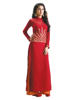 Office Wear Maroon Georgette Palazzo Suit- 115439