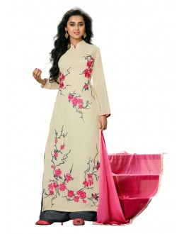 Office Wear Off White Georgette Palazzo Suit- 115441