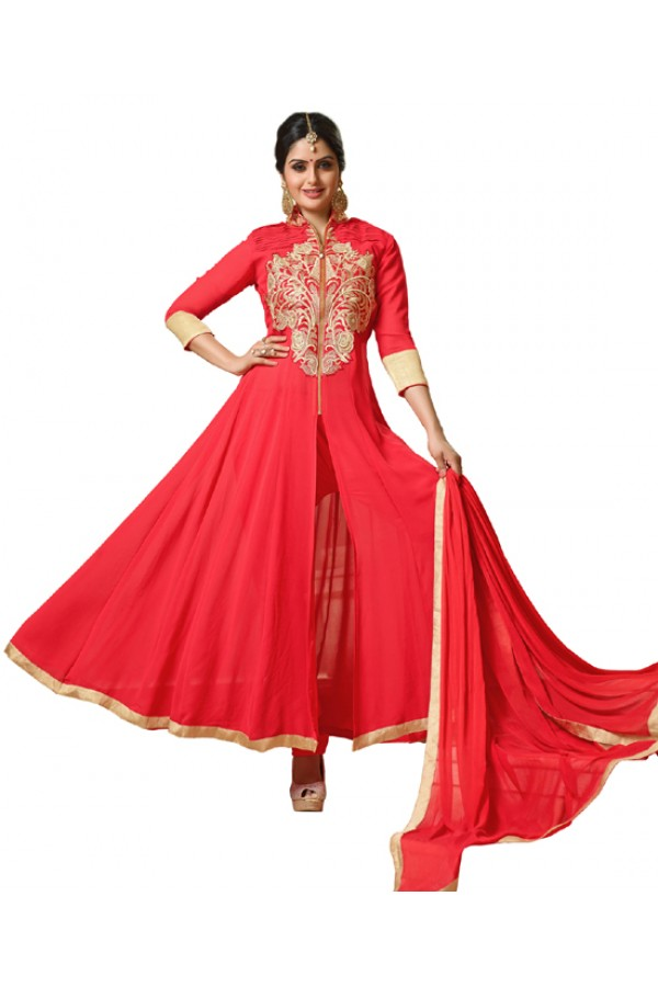 Ethnic Wear Red Georgette Anarkali Suit- 115447