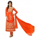 Ethnic Wear Orange Georgette Churidar Suit- 115448