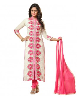 Party Wear White Georgette Salwar Suit- 115452