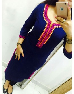 Office Wear Navy Blue Georgette Kurti - 108044