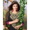 Diwali Special Black Embroidered Georgette Straight Cut Suit - 121434(SOS-121)