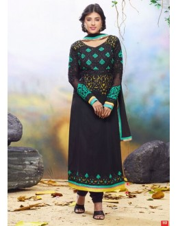 Diwali Special Black Embroidered Georgette Straight Cut Suit - 121437(SOS-121)