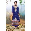 Diwali Special Blue Embroidered Georgette Straight Cut Suit - 121432(SOS-121)