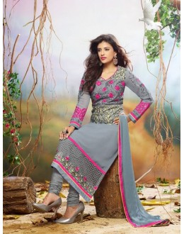 Diwali Special Grey Embroidered Georgette Straight Cut Suit - 121436(SOS-121)
