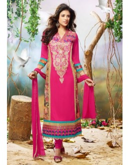 Diwali Special Pink Embroidered Georgette Straight Cut Suit - 121431(SOS-121)