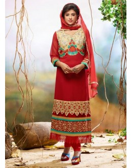 Diwali Special Red Embroidered Georgette Straight Cut Suit - 121438(SOS-121)