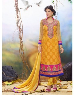 Diwali Special Yellow Embroidered Georgette Straight Cut Suit - 121435(SOS-121)