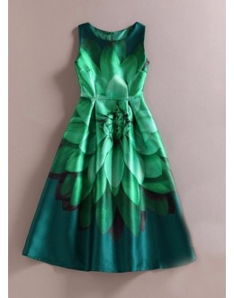 Party Wear Readymade Green Western Wear Dress - 101027