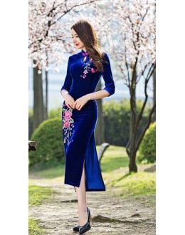 Festival Wear Blue Velvet Western Wear Dress - 102084