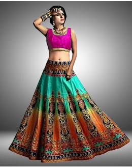 Designer Multicolour Silk Lehenga Choli - 105003