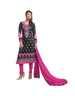 Diwali Special Designer Black & Pink Embroidered Chanderi Straight Fit Party Wear Suit - 6023 ( SOS-60 )
