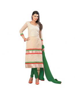 Diwali Special Designer Off-White & Green Embroidered Chanderi Straight Fit Party Wear Suit - 6022 ( SOS-60 )
