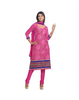 Diwali Special Designer Pink & Blue Embroidered Chanderi Straight Fit Party Wear Suit - 6024 ( SOS-60 )