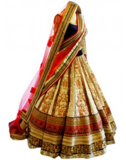 Bollywood Replica Beige & Blue Lehenga Choli - 3352505