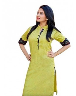 Casual Wear Yellow Cotton Kurti - 1890230