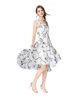 Party Wear White Printed Western Dress  - 102050