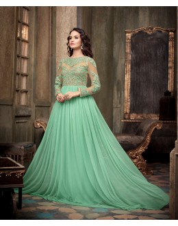 Designer Cyan Embroidered Georgette & Net Party Wear Gown - 737013 ( SOS-715 )