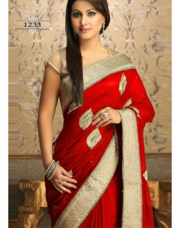 Designer Georgette Embroidered Party Wear Red Saree - 530 ( SOS-715 )