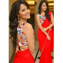 Designer Georgette Embroidered Party Wear Red Saree - 532 ( SOS-715 )