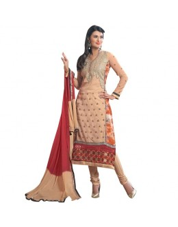 Sayali Bhagat Designer Beige & Red Embroidered Pure Georgette Straight Fit Party Wear Suit - 9023 ( SOS-90 )