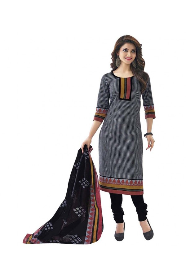 Cambric Cotton Black Churidar Suit Dress Material - 5490505