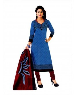 Cambric Cotton Blue Churidar Suit Dress Material - 5490532