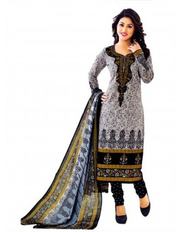 Cambric Cotton Grey & Black Churidar Suit Dress Material - 5490513