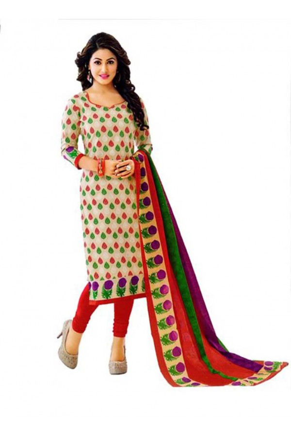 Cambric Cotton Multicolor Churidar Suit Dress Material - 5490519