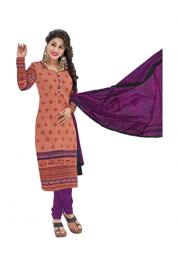 Cambric Cotton Orange Churidar Suit Dress Material - 5490507