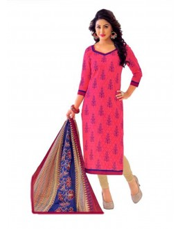 Cambric Cotton Pink Churidar Suit Dress Material - 5490521