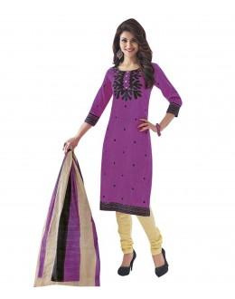 Cambric Cotton Purple Churidar Suit Dress Material - 5490503