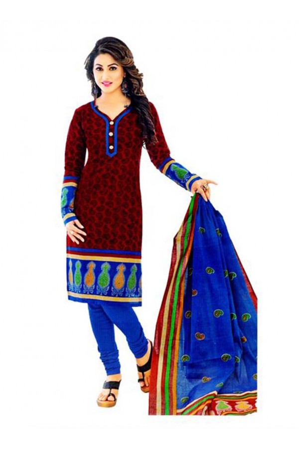 Cambric Cotton Red Churidar Suit Dress Material - 5490529