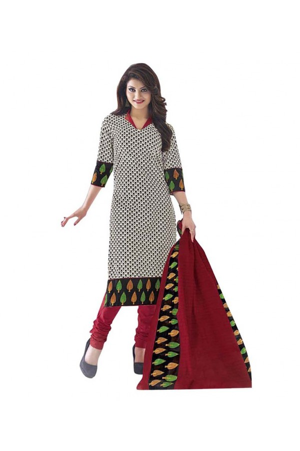 Cambric Cotton White Churidar Suit Dress Material - 5490520