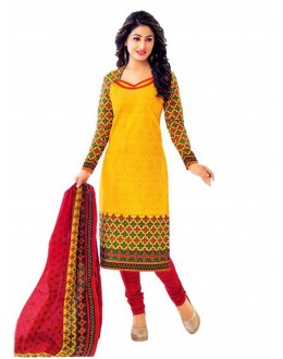 Cambric Cotton Yellow Churidar Suit Dress Material - 5490517