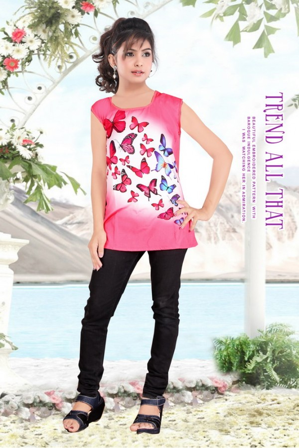Casual Wear American Crepe Light Pink Kurti - 102028