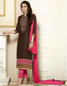 Casual Wear Cotton Brown Salwar Suit - 1890115