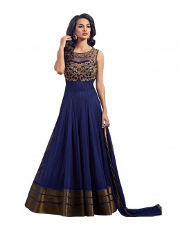 Ethnic Wear Net Blue Anarkali Suit - 723036