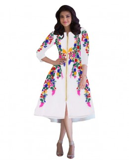 Party Wear Georgette White Kurti - 102039