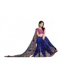 Designer Fancy Adorable Embroidered Navy Blue Color Party Wear Saree-CB9504 ( ST-266 )