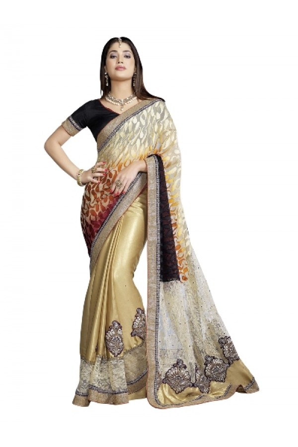 Designer Fancy Attractive Beige with Embroidered White Color Party Wear Saree-CB9508 ( ST-266 )