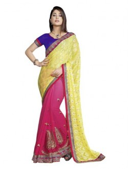 Designer Fancy Attractive Embroidered Yellow With Pink Color Party Wear Saree-CB9505 ( ST-266 )