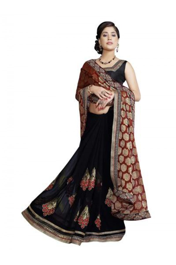 Designer Fancy Dazzling Maroon With Black Color Party Wear Saree-CB9503 ( ST-266 )
