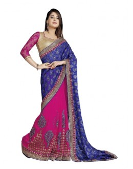 Designer Fancy Embroidered Artistic Blue With Pink Color Party Wear Saree-CB9506 ( ST-266 )