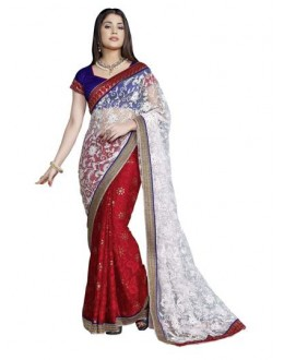 Designer Fancy Embroidered Stunning White With Red Color Party Wear Saree-CB9507 ( ST-266 )