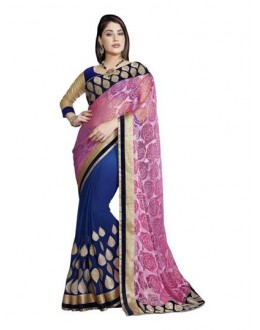 Designer Fancy Pink & Navy Blue Color Party Wear Saree-CB9501 ( ST-266 )