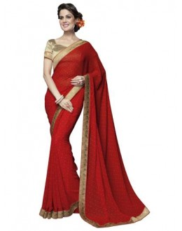 Designer Fancy Printed Artistic Red Color Georgette Saree-KR1165 ( ST-266 )