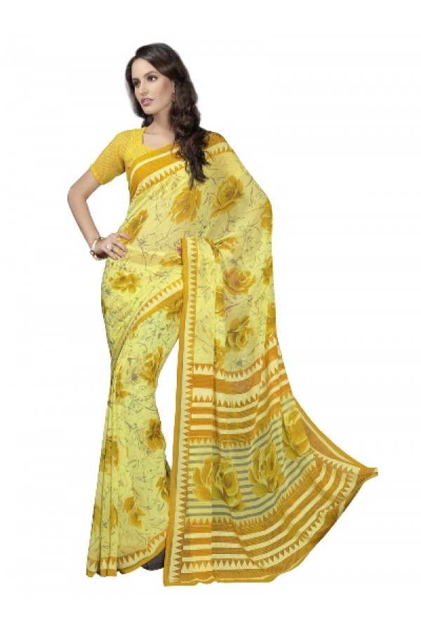 Designer Fancy Printed Bewitching Yellow Color Georgette Saree-KR1155 ( ST-266 )