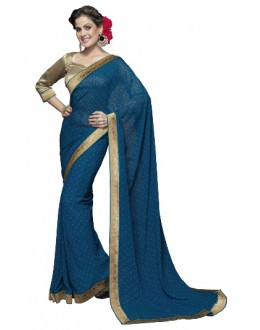 Designer Fancy Printed Classy Blue Color Georgette Saree-KR1164 ( ST-266 )